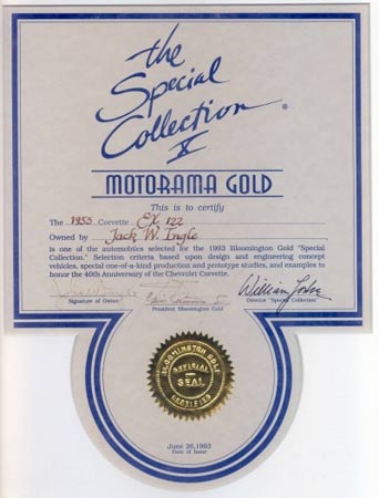 The car was also granted Special Selection X  -  Motorama Gold Status by Bloomington Gold in 1993. Photo courtesy of Kerbeck Chevrolet.