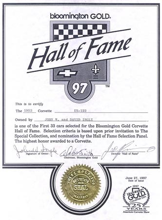 In 1997 the car was selected for the Bloomington Gold Hall of Fame  -  the highest honor awarded to a Corvette. Photo courtesy of Kerbeck Chevrolet.