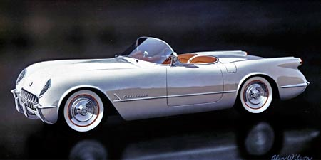 Here's what the production 1953 Corvette looked like. Contrast this with the EX-122 photos and you'll see the subtle differences such as the length of the side spear, position of the hash and the exterior door buttons that were all changed on the production cars. Photo courtesy of Kerbeck Chevrolet.