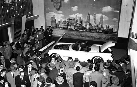 Throngs gathered around with excitement as Chevrolet's new two-seater sports car quickened pulses  -  it was unlike anything they had ever seen before.