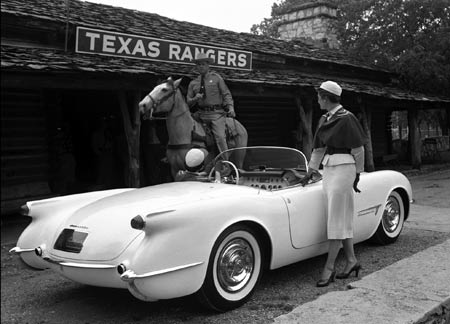 This could have been the first speeding ticket ever issued to a Corvette, had it not been a staged promotional shot.