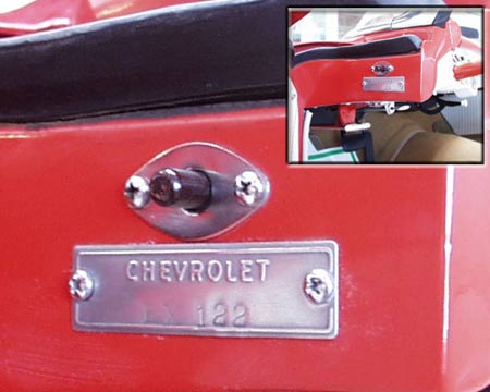 The EX-122 serial number plate denoting it as an experimental vehicle is mounted on the driver's door jamb, laying credence to the claim that it is, indeed, the real McCoy. Photo courtesy National Corvette Museum.