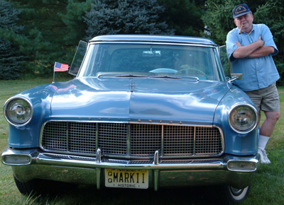 "My late brother, Timothy B. Benford, Jr., with his 1956 Continental Mark II he dubbed, ""Big Blue""."
