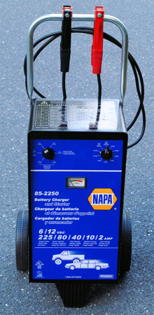 This industrial-strength battery charger from NAPA features multiple charge power ranges and can also be used to jump start a vehicle with a totally-dead battery. With a price tag of a few hundred bucks, this is more power than most folks need or want, unless you subscribe to the 'bigger is better' school of thought.