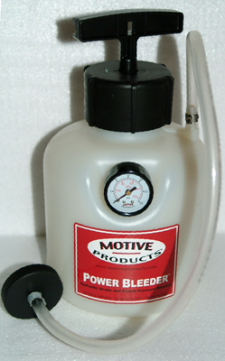 The Motive Products power bleeder is and effective and easy-to-use pressurized brake bleeder. Just remove the master cylinder lid, attach adapter, fill the reservoir, pressurize reservoir with attached pump, and open the bleed fittings. The bleeder is available for older domestic, modern domestic (shown) and foreign car models. It comes with instructions, a 1-year manufacturer's warranty and it is made in the USA — something rare these days.