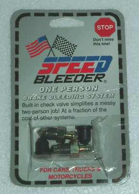 Speed Bleeders are automotive bleeder screws with built-in check valves that make bleeding your brakes truly a one person job. Simply remove your OEM bleeder screw and replace it with Speed Bleeder. When you are ready to bleed your brakes, loosen the Speed Bleeder 1/4 turn. Pump the brake lever or pedal until bubble free fluid is seen. Close the Speed Bleeder and you're done.