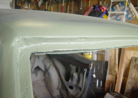 Hide repair with fiberglass filler and smooth filler top coat.