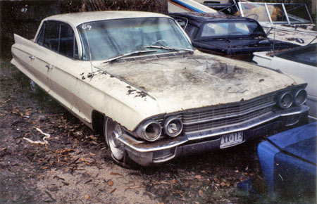 Compound yards often sell vehicles which owners have abandoned due to accidents. This1962 Cadillac yielded a good 390 V8.