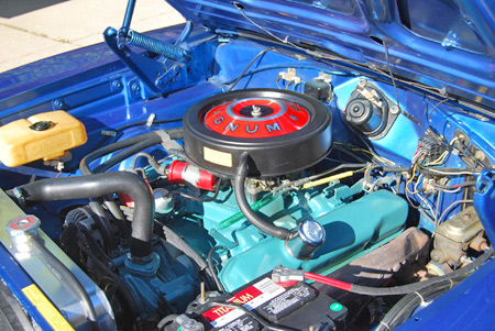Here's a 383-cid Charger engine that's had some careful in-the-car detailing.