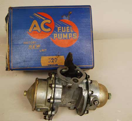 This brand new AC fuel/vacuum pump for a '51 Buick will likely leak modern fuels and should be rebuilt with updated seals and diaphragms.
