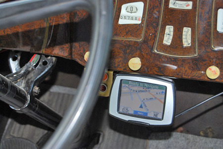 A Garmin 260 is mounted in Lloyd Guerke's '31 Willys-Knight. The car has 12-volts electrics and the GPS is hooked to the cigar lighter.