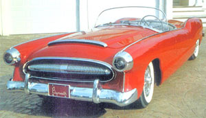 Originally in Azure Blue, the 1954 Plymouth Belmont concept car as it looks today in red trim.