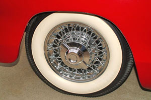 Chrome Kelsey-Hayes wire wheels with spinner hub caps grace the Belmont at all 4 corners and the spare. These were optional equipment on all Mopar products of the period.