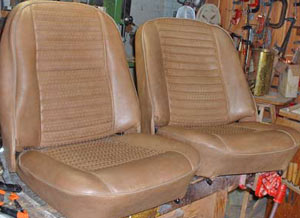 The finished seat on the right looks much more comfortable than the saggy one on the left.