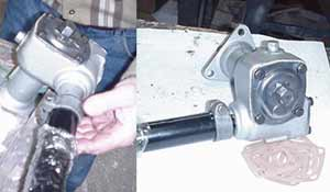 On left, installing column onto steering box. On right, the finished project.