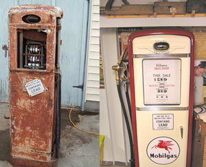 Just in case you've forgotten, the photo on the left is where we started. On the right, the finished pump in our office.