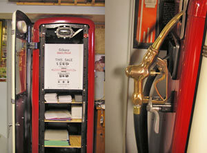 Always keeping an eye toward the practical, we use our restored pump as an office supply storage cabinet. The photo on the right shows the nozzle we picked up at a local antique shop and buffed back to its original sheen.
