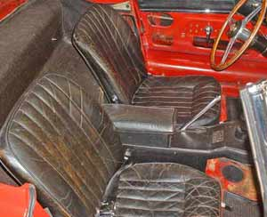 The old leather seats are still pretty intact.