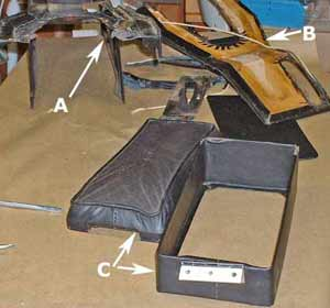 A: Console body; B: Underside of the handbrake piece; and C: cubby box and its lid (arm rest cover).