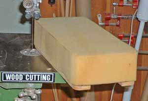 Cutting the foam to the correct shape was easy on our band saw. Take care not to cut the plywood base.