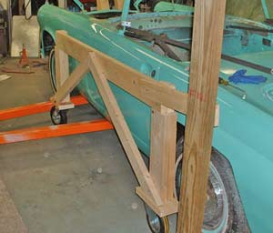 To make assembly easier while we had the body suspended, we attached the sides of the cart to our truss supports.