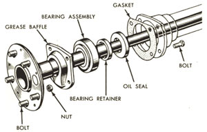 Typical rear hub and bearings.