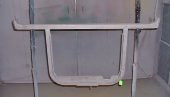 The radiator support was in great shape, shown after sandblasting.