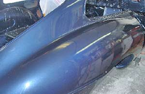 Passenger side rear fender glossing up nicely!