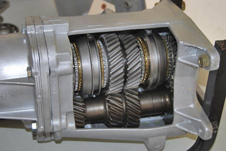 This cutaway Muncie transmission shows a good look at the main shaft on top and the cluster gears on the bottom.