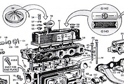This illustration shows the valve cover, oil cover, hold-down parts and the MG logo and Weslake patent plate. Not shown are the 'clothes-pin' style rivets for the plates.