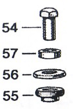 Cap nut (54), distance piece (57), cup washer (56) and rubber grommet (55).