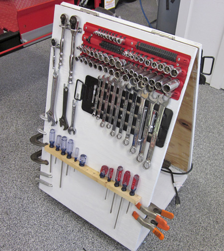Here's our tool caddy with tools on board. Obviously, andy configuration is possible.